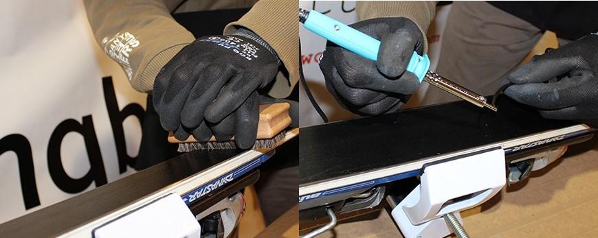 Material para el mantenimiento de la suela de los esquís y tablas de snowboard